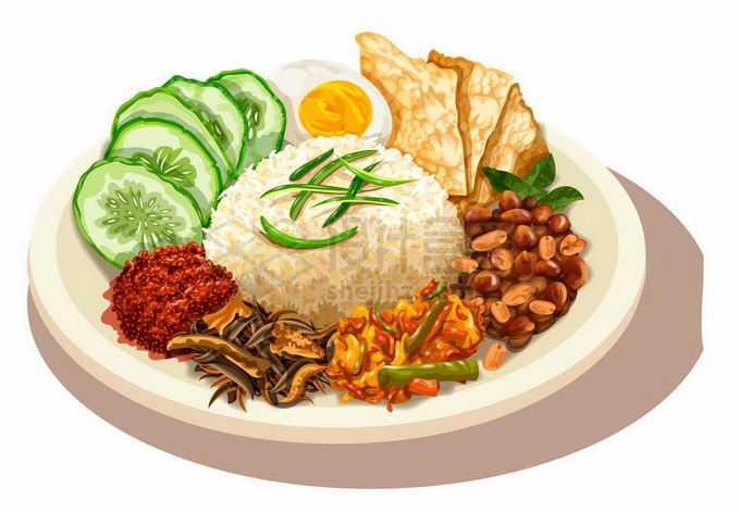一盘美味椰浆饭东南亚马来西亚传统美食4843927矢量图片免抠素材