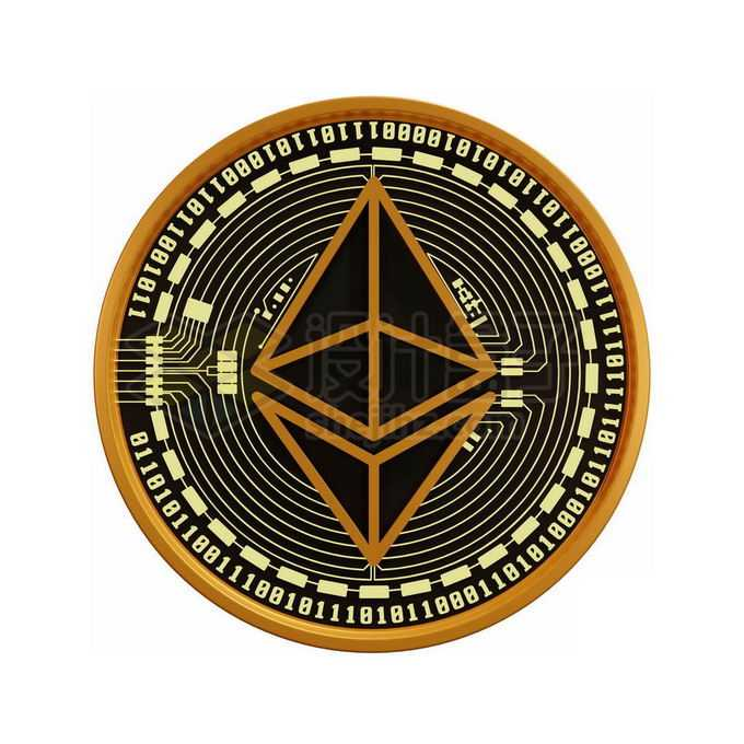 3D立体风格黑金色金属以太币硬币金币3933376免抠图片素材