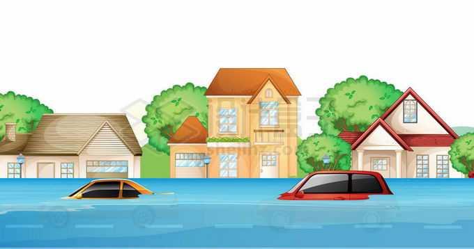 被洪水包围的房子和汽车9396571矢量图片免抠素材免费下载