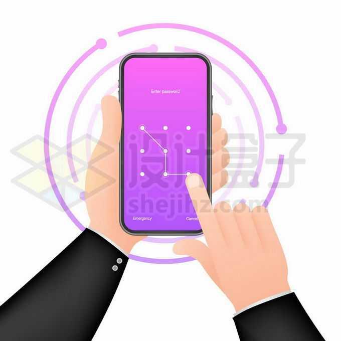 通过手机图案解锁手机的双手4077915矢量图片免抠素材免费下载