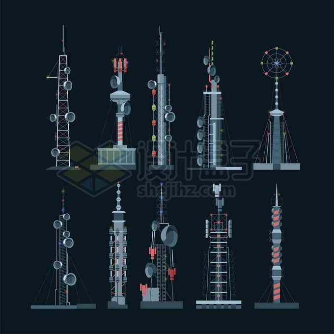 10款红色灰色移动信号发射塔通信塔5965361矢量图片免抠素材