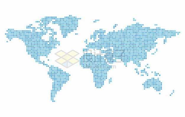 不同深度的蓝色圆点组成的世界地图6424501矢量图片免抠素材