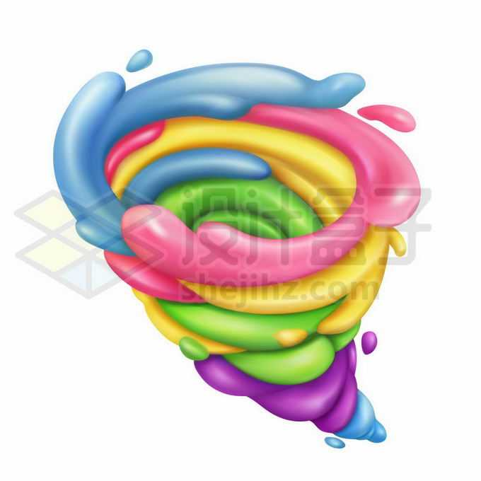 3D立体彩色橡皮泥风格龙卷风7621493矢量图片免抠素材