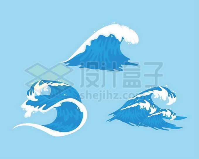 3款蓝色的海浪浪花巨浪手绘插画6613627矢量图片免抠素材免费下载
