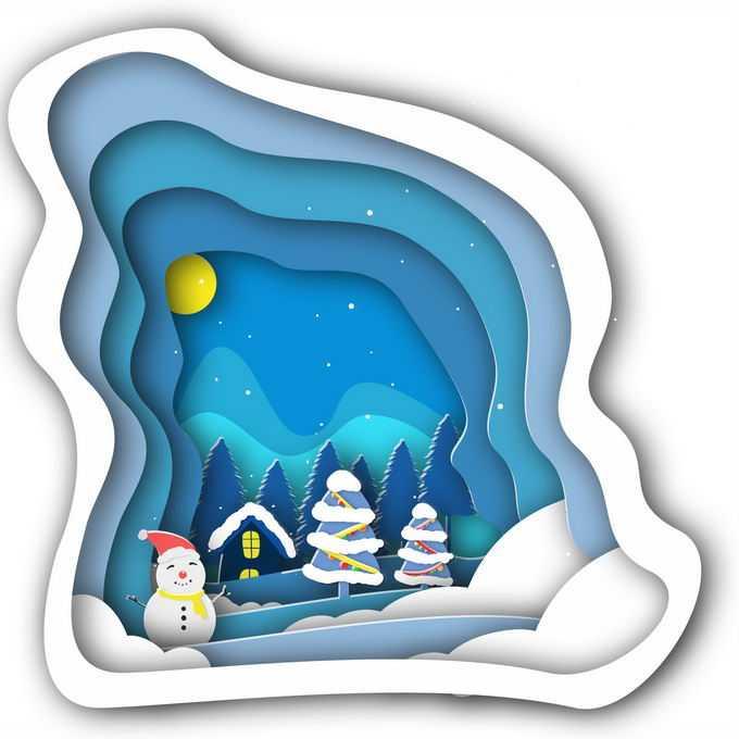 剪纸叠加风格冬天里的雪人森林和房屋雪景5991777免抠图片素材