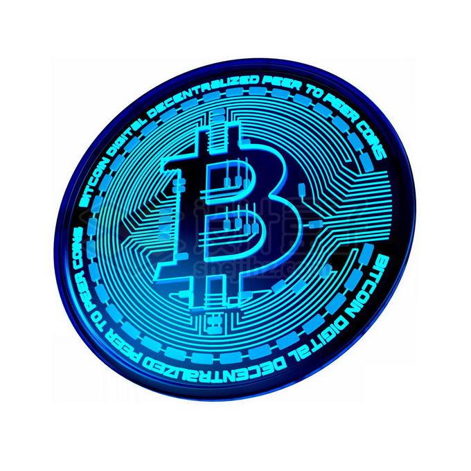 3D立体风格蓝色发光比特币硬币金币3852173免抠图片素材 金融理财-第1张