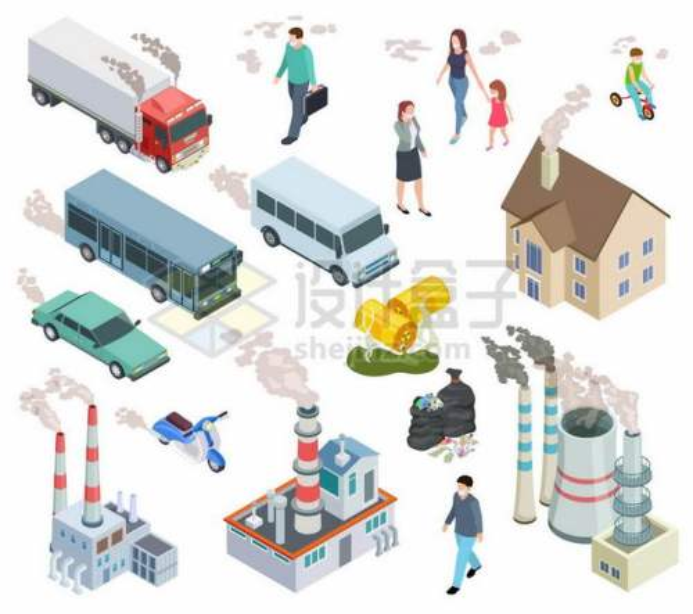 2.5D风格卡车汽车排放尾气工厂排放废气等空气污染9803159矢量图片免抠素材