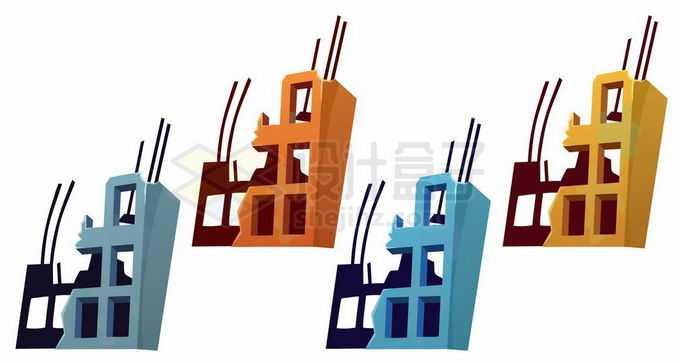 4种颜色倒塌破败不堪的卡通大楼建筑物5524724矢量图片免抠素材免费下载