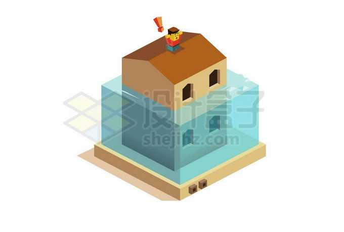 2.5D风格洪水淹没了一楼在房顶求救的灾民8616448矢量图片免抠素材免费下载