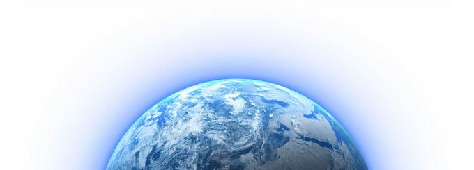 发出蓝色光线的半个地球png免抠图片素材 科学地理-第1张