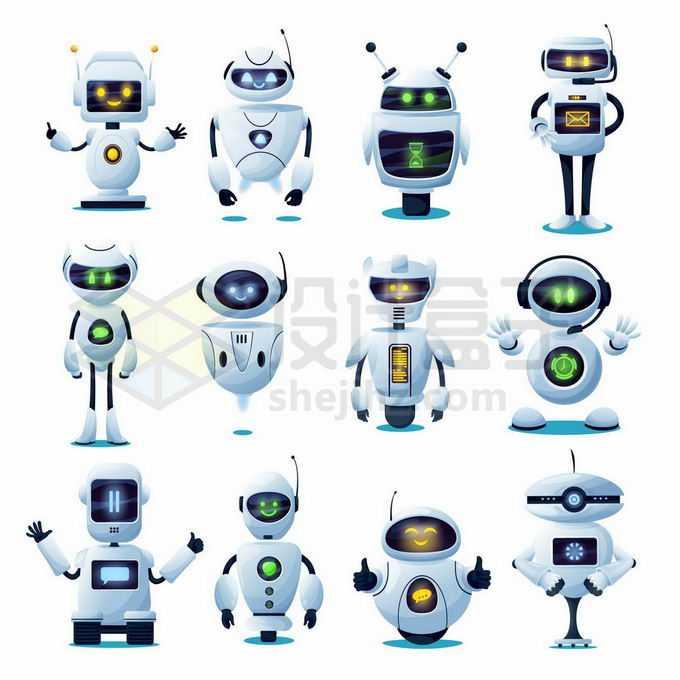 12款带表情的卡通高科技机器人1045596矢量图片免抠素材