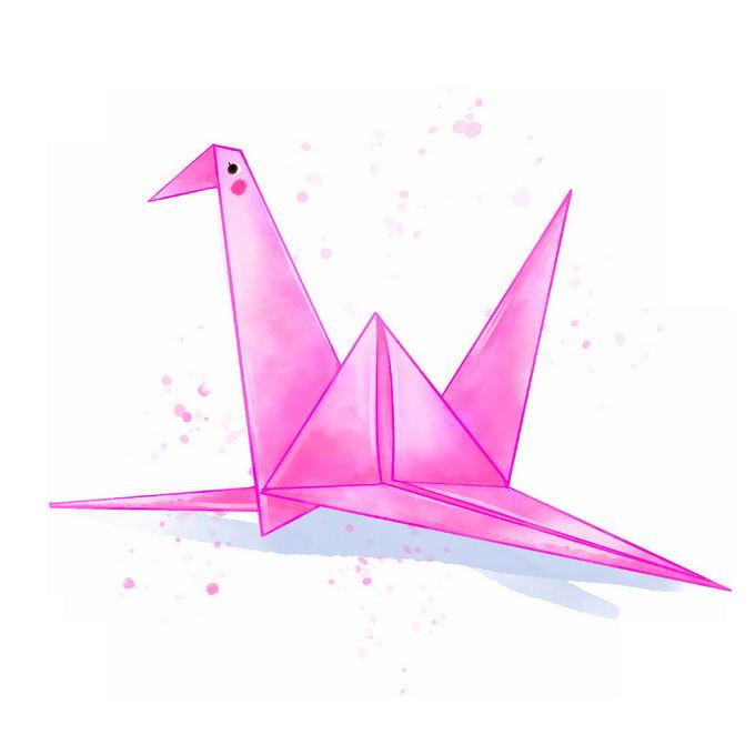 一只粉红色的千纸鹤水彩画插画4144051免抠图片素材 休闲娱乐-第1张