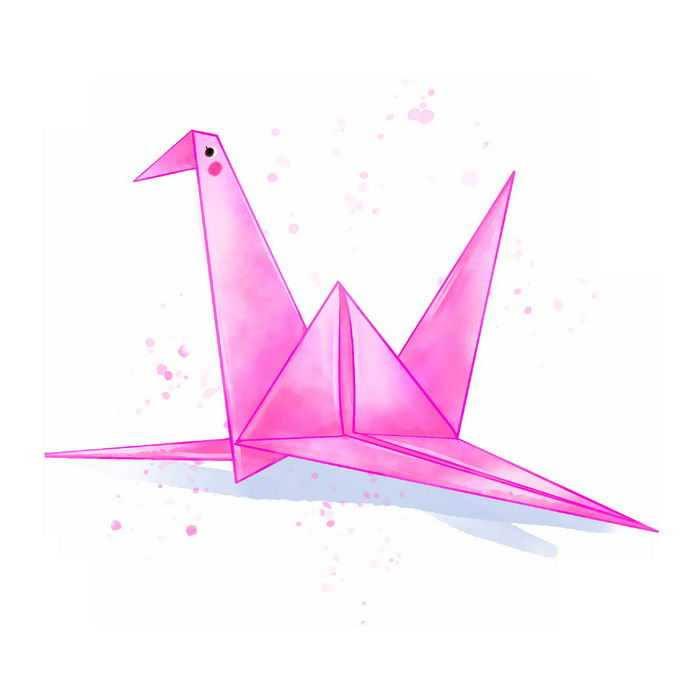一只粉红色的千纸鹤水彩画插画4144051免抠图片素材