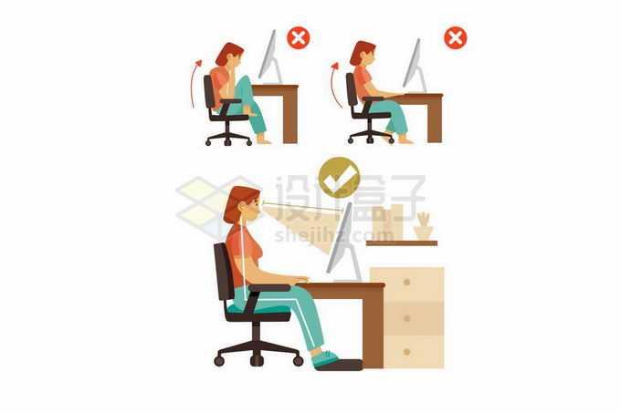 正确和错误的坐姿办公姿势手绘插画4833858矢量图片免抠素材