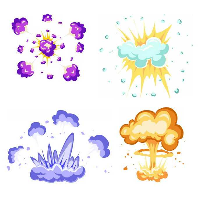 4种卡通漫画风格的彩色爆炸效果3637828矢量图片免抠素材