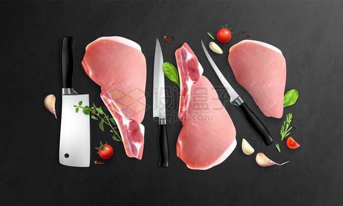 各种刀具和牛肉切片牛排1322875矢量图片免抠素材