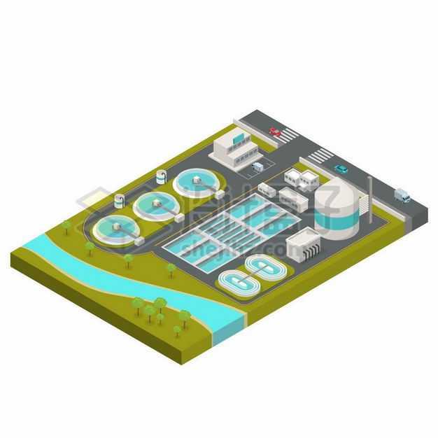 2.5D风格自来水厂污水处理厂水源净化厂1226146矢量图片免抠素材