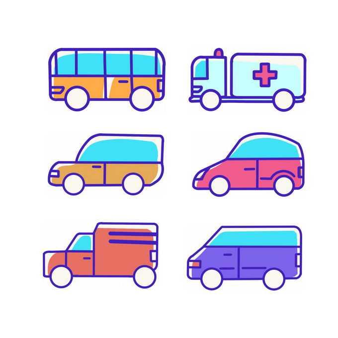 6款MBE风格卡通公交车救护车面包车等手绘汽车儿童画7637653图片免抠素材免费下载