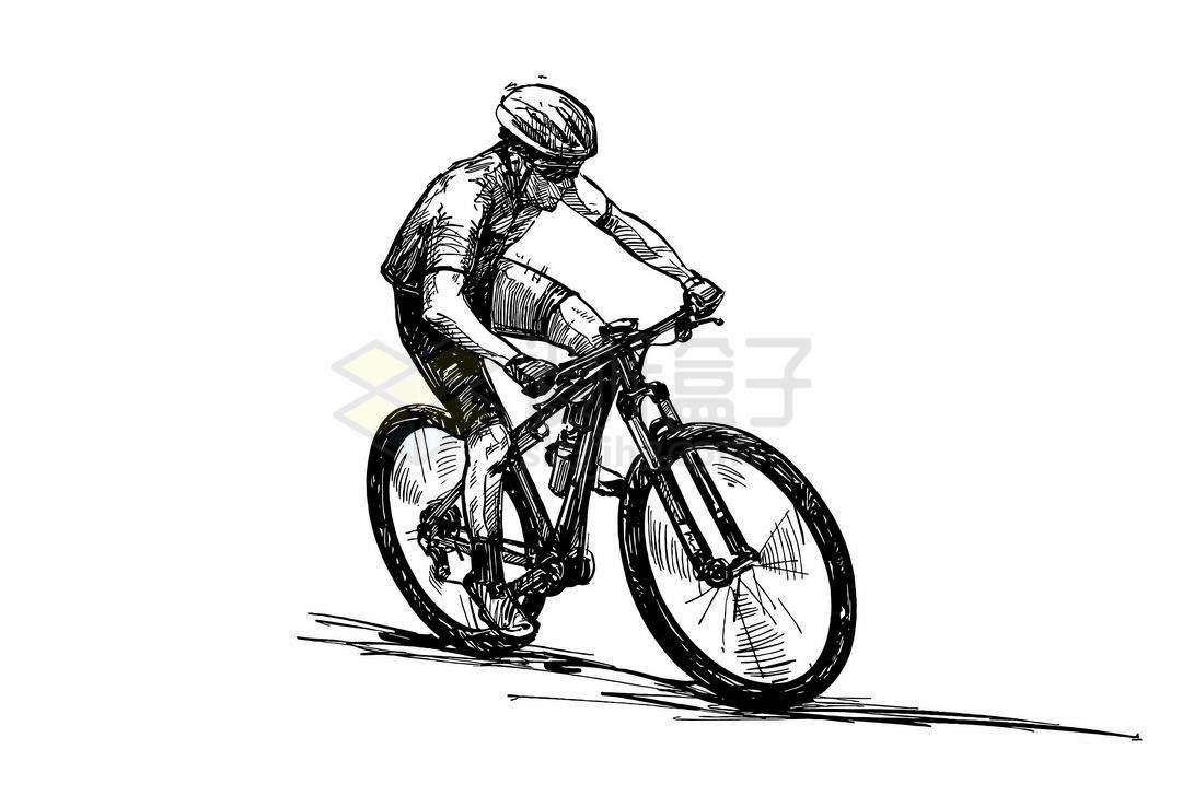 骑手正在骑自行车侧视图手绘线条素描速写插画6969706矢量图片免抠素材