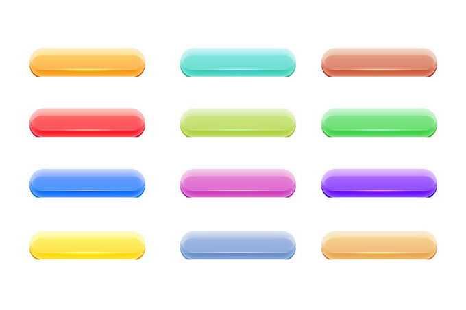 12款颜色的彩色水晶按钮网页按钮游戏按钮2139452免抠图片素材免费下载