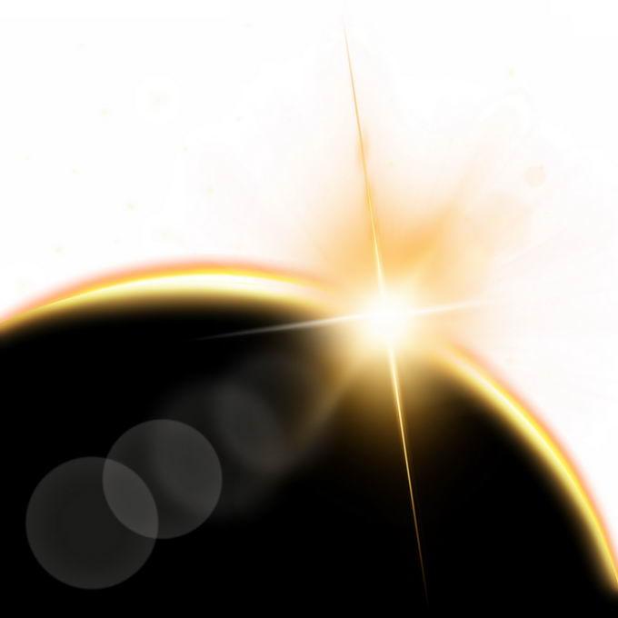 黄色阳光效果地球日出光芒效果7349877图片免抠素材免费下载 效果元素-第1张
