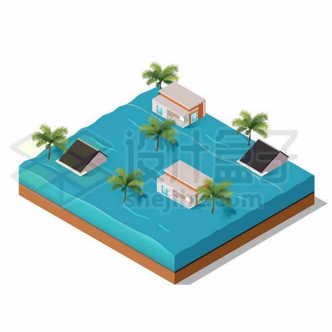 2.5D风格被洪水淹没的房子和大树洪涝灾害4099016矢量图片免抠素材免费下载