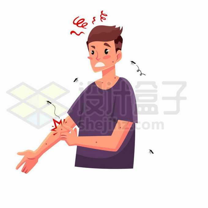 卡通男人一巴掌拍死在胳膊上吸血的蚊子9977581矢量图片免抠素材免费下载