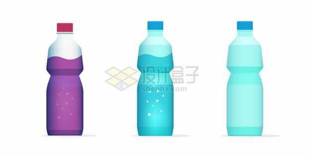 3款分别装有紫色深蓝色和蓝色液体的塑料瓶饮料瓶8313857矢量图片免抠素材