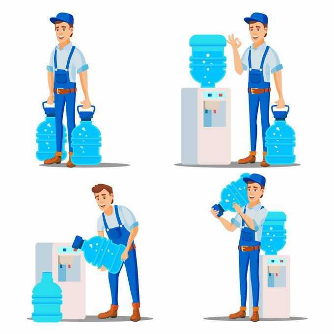 4款卡通送水工正在为饮水机换水桶2673845矢量图片素材