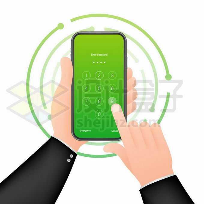 通过手机密码锁正在解锁手机的双手8214478矢量图片免抠素材免费下载