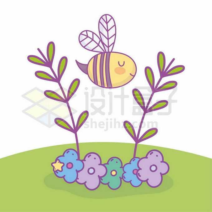 卡通小蜜蜂飞过花丛中草丛儿童插画6189639矢量图片免抠素材