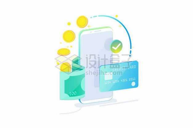3D风格绿色边框的手机和银行卡钞票象征了手机移动支付4039785矢量图片免抠素材