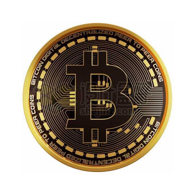 3D立体风格黑金色金属比特币硬币金币1553212免抠图片素材