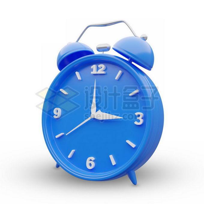 3D立体风格蓝色闹钟时钟2056790免抠图片素材 生活素材-第1张