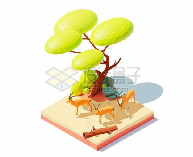 2.5D风格卡通大树和树下躲避烈日的羚羊非洲野生动物2496393矢量图片免抠素材