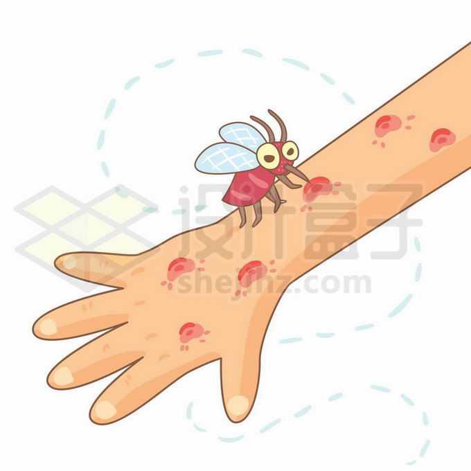 一只卡通蚊子趴在手臂上吸血叮了几个大包1458253矢量图片免抠素材免费下载