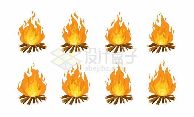 8款燃烧着熊熊大火的卡通篝火5775949矢量图片免抠素材