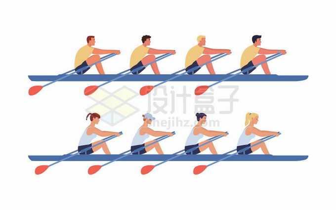 男子和女子多人皮划艇水上运动5951851矢量图片免抠素材