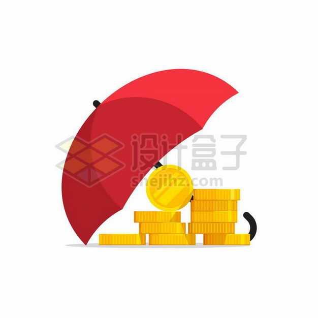 红色雨伞下面的金币象征了资金安全保险业务9655085矢量图片免抠素材