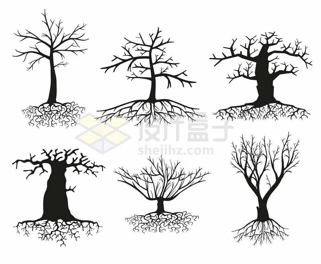 6款枯树树干树冠和树根剪影图案1838985矢量图片免抠素材