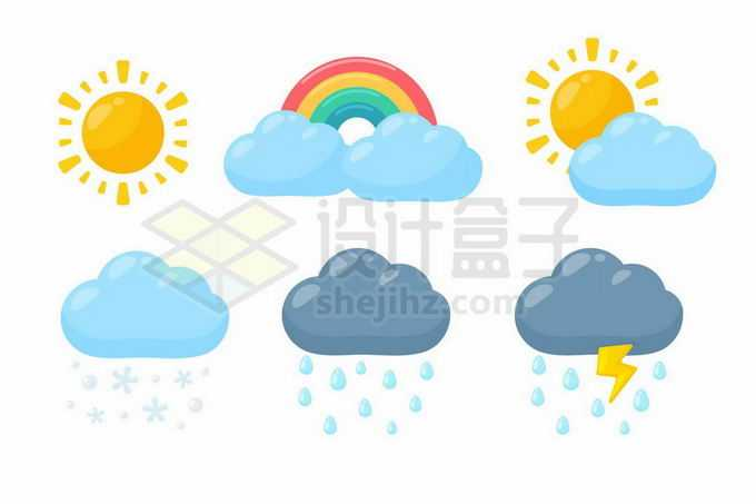 晴天太阳多云彩虹和多云转晴下雪下雨雷雨等卡通天气预报图标9717180矢量图片免抠素材