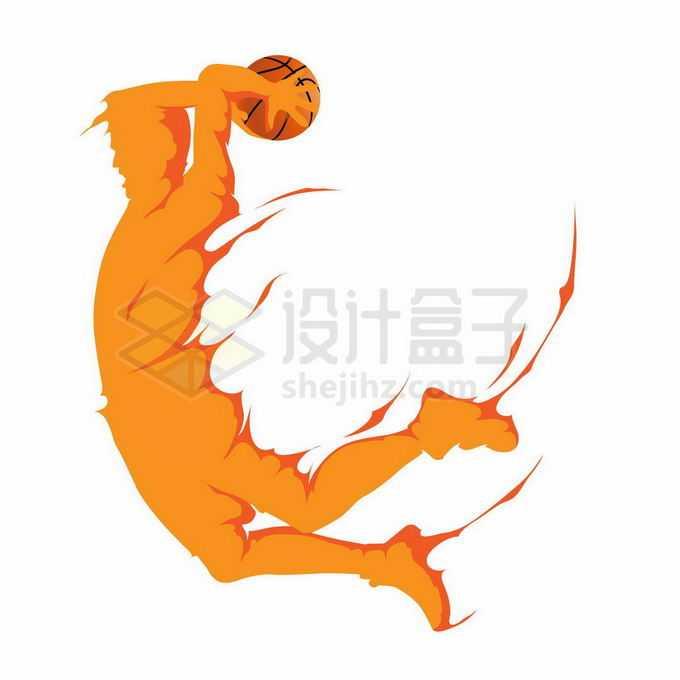 动感手绘风格橙色运动员投篮灌篮扣篮体育插画4678794矢量图片免抠素材免费下载