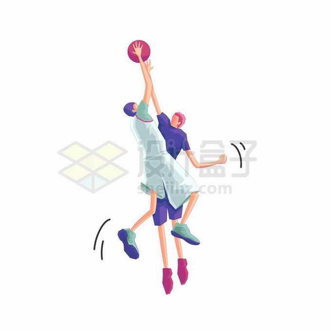 卡通篮球运动员正在投篮扣篮灌篮和抢篮板体育插画4201263矢量图片免抠素材免费下载