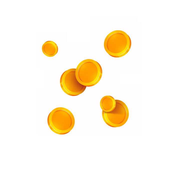 掉落的各种空白图案的金币硬币1053475图片免抠素材免费下载