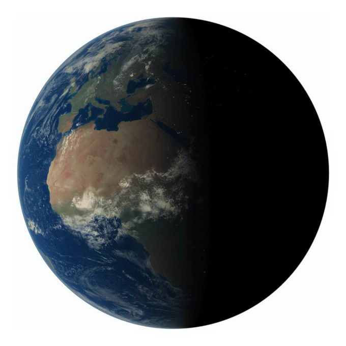高清地球黄昏线上的非洲大陆png免抠图片素材 科学地理-第1张
