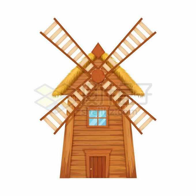 一款木头打造的荷兰风车3662745矢量图片免抠素材