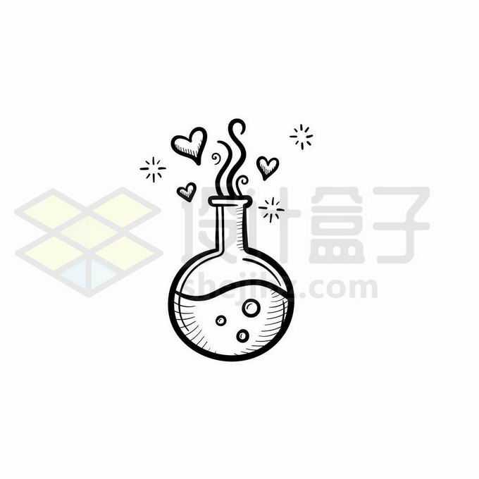圆底烧瓶化学实验仪器手绘线条插画8539857矢量图片免抠素材免费下载