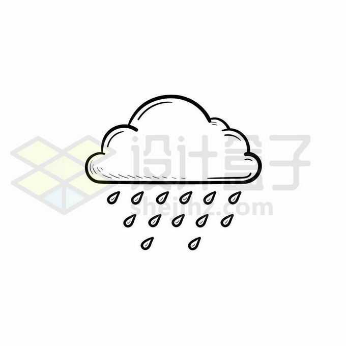 云朵雨点中雨天气预报图标手绘线条插画7718091矢量图片免抠素材免费下载