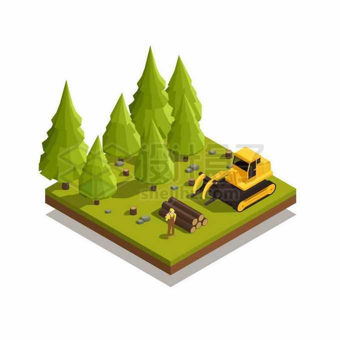 2.5D风格伐木工开着伐木车在森林里开采木头4505691矢量图片免抠素材免费下载