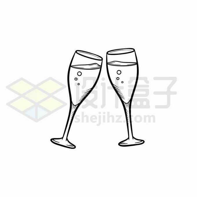 两个红酒杯碰杯手绘线条插画6974931矢量图片免抠素材免费下载